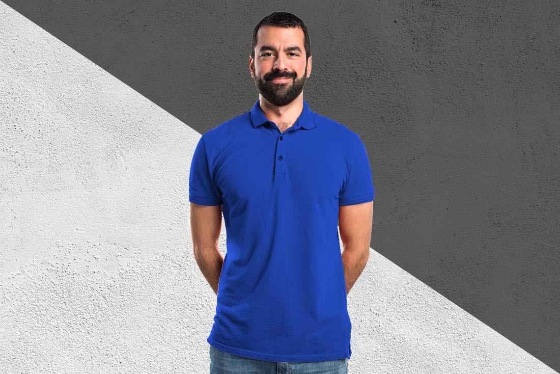 Saks Mavi Baskısız Polo Yaka Tişört