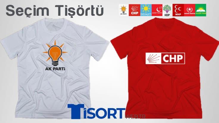 Baskılı Siyasi Parti Seçim Tişörtleri